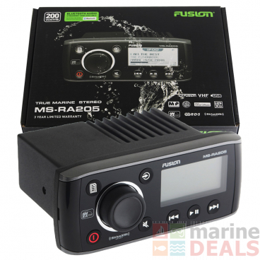 Fusion MS-RA205 True Marine Stereo with USB and VHF Receiver