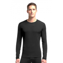 Icebreaker Mens Oasis Merino Thermal Long Sleeve Crew Shirt Black M
