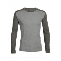 Icebreaker Mens Merino Oasis Long Sleeve Crewe Metro Heather/Metal