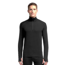 Icebreaker Mens Merino Thermal Long Sleeve Half Zip Shirt Black M