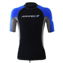 Aropec Lycra Short Sleeve Mens Rash Top Blue