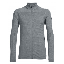 Icebreaker Mens Merino Mt Elliot Long Sleeve Zip Gritstone Heather/Black XL