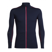 Icebreaker Mens Merino Incline Zip Long Sleeve Shirt Midnight Navy/Rocket XL
