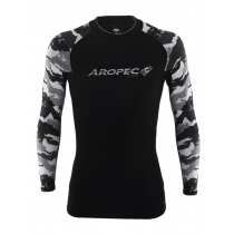 Aropec Lycra Mens Long Sleeve Rash Top Black/Camo