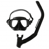 Pro-Dive Twin Lens Silicone Adult Dive Mask and Snorkel Set Black
