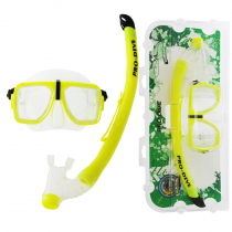 Pro-Dive Twin Lens Silitex Dive Mask and Snorkel Set Yellow