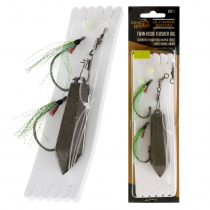 Jarvis Walker Twin Hook Flasher Rig with Sinker Green/Chartreuse