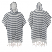 Hand-loomed Cotton Beach Fouta Poncho - Grey