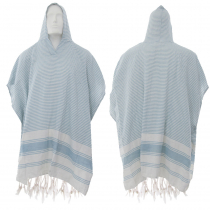 Hand-loomed Cotton Beach Fouta Poncho - Blue