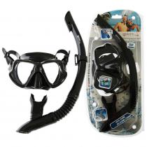 Mares Wahoo Adult Dive Mask and Snorkel Set Black