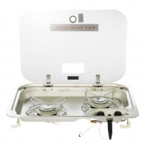 Dometic 2-Burner Gas Hob Stove with Glass Lid