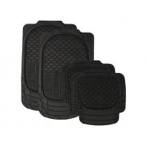 Wildcat Black All Weather Heavy Duty Rubber Floor Mat Set of 4