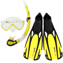 Mares Cobia and Fluida Adult Dive Mask Snorkel and Fins Set Yellow