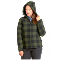 Swanndri Womens Portland Hoodie with Drawcord Olive/Black Check S