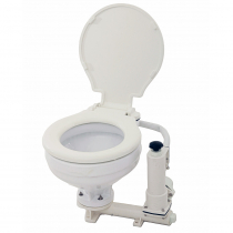 Manual Marine Toilet with Wood Seat and Cover