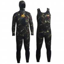 Aropec Open Cell Camouflage Mens Spearfishing Wetsuit 5mm 2pc L