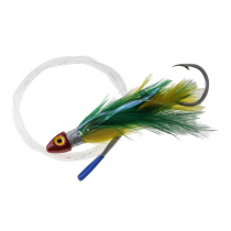 Black Magic Saltwater Chicken Feathered Game Lure Green/Yellow Single Hook