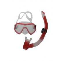 CDX Silicone Diving Mask and Snorkel Set Red Medium