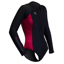 Sharkskin Womens Chillproof Longs Sleeve Ladies Step-In Black/Red