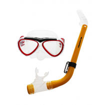 Aropec Kids Silicone Mask and Semi-Dry Snorkel Set Red Yellow