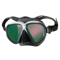 Aropec Glowworm PC Dive Mask with Mirror Coated Lens Black/Silver