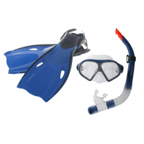 Mirage Mission Adult Dive Mask Snorkel and Fins Set Blue S/M