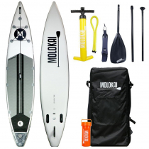 Molokai I-Tourer Inflatable Stand Up Paddle Board 12ft White/Grey