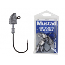 Mustad Soft Plastic Lead Jig Heads 2/0 3/8oz Qty 5
