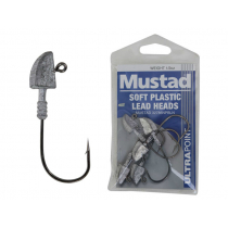 Mustad Soft Plastic Lead Jig Heads 2/0 1/2oz Qty 5