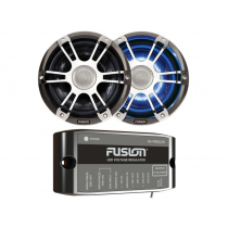 Fusion 2-Way Coaxial Sports Chrome LED Marine Speakers with Regulator 8.8'' 330W