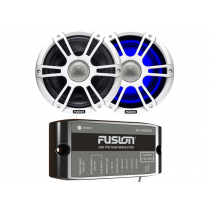 Fusion 2-Way Coaxial Sports White LED Marine Speakers with Regulator 8.8'' 330W