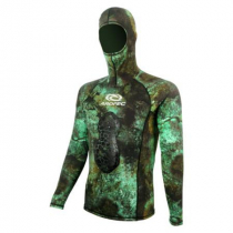 Aropec Mens Neoprene Lycra Hooded Spearfishing Rash Top Camo Green 1mm