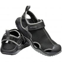 Crocs Swiftwater Mesh Deck Mens Sandals Black