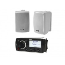 Fusion RA50 Marine Stereo Package with 2-Way Box Speakers 100W