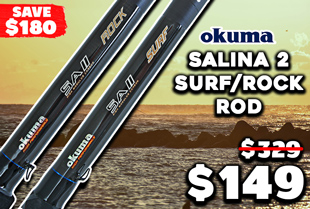Okuma Salina 2 Spinning Surf/Rock Rod with Spare Butt 13ft PE2-3 3pc