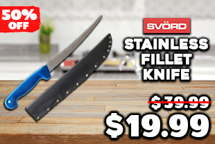 Svord Stainless Steel Fillet Knife with Sheath 23cm